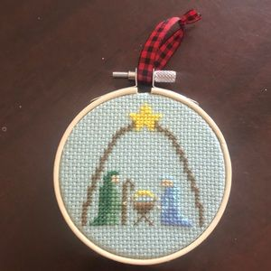 Custom Christmas ornament. Cross stitch
